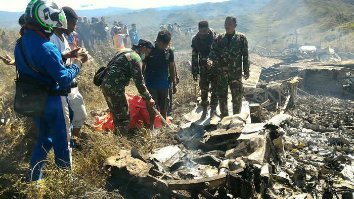 Indonesian military plane crashes in Papua, killing 13