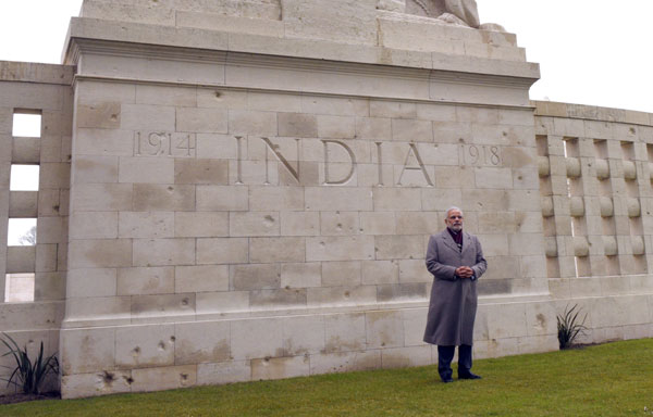 PM pays homage at war memorial for Indians in France