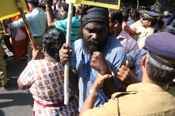 Kiss Street' protest turns violent in Kozhikode; police resort to lathicharge