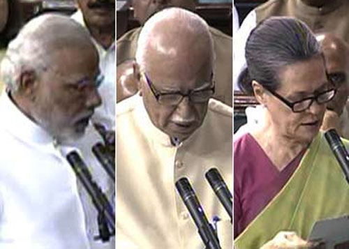 PM Modi, Advani, Sonia take oath as Lok Sabha members