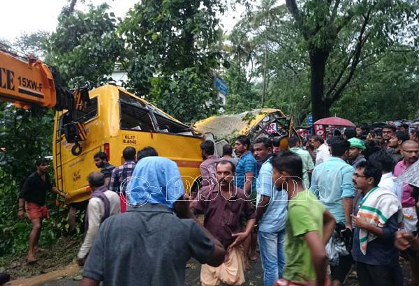 Five students killed as tree falls on school bus