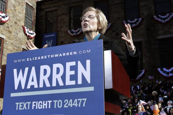 Trump may not even be a free person in 2020: Warren