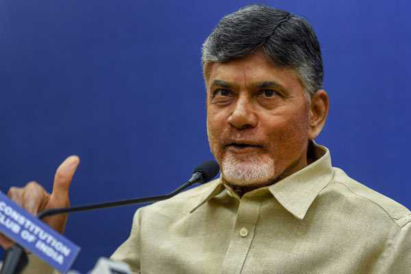 Andhra CM Chandrababu Naidu protests outside poll panel's office saying it's tyrannical
