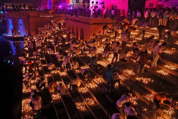 Over 3 lakh 'diya' lit on banks of Sarayu river in new world record