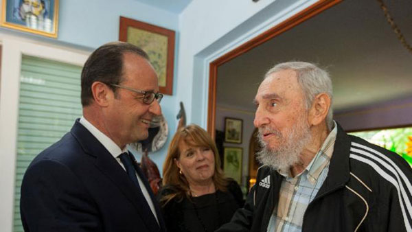 Hollande meets Fidel Castro during historic Cuba visit