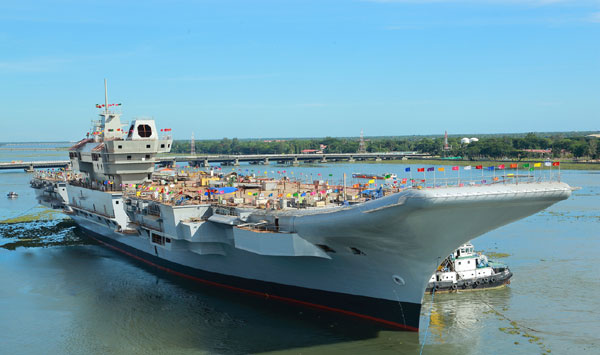 Indias first indigenous aircraft carrier INS Vikrant undocked