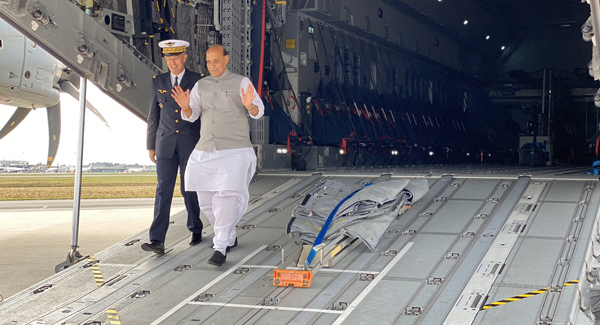 Rajnath Singh arrives for Rafale handover ceremony in France