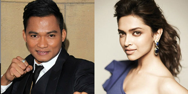Deepika Padukone poses with Thai actor Tony Jaa