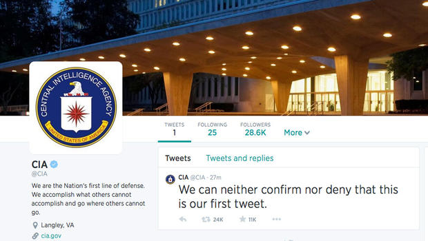 CIA joins Twitter, Facebook