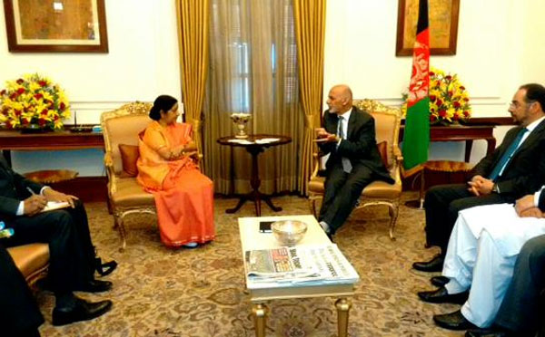 Ghani meets Sushma Swaraj, to hold talks with Modi