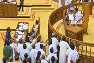 Opposition targets K. Babu again, stages walkout over bar bribery case