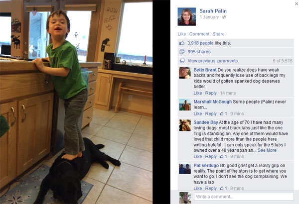 Sarah Palin photos of son stepping on dog trigger online outrage