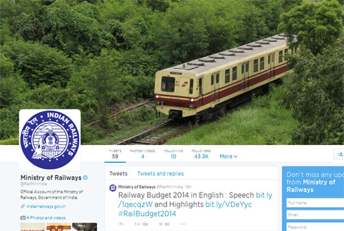 Railway ministrys Twitter following surges
