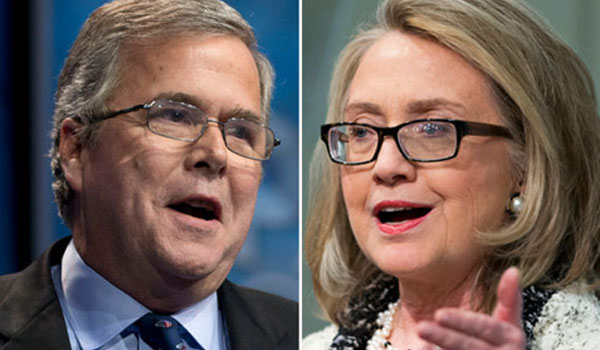 Hillary leads Democratic pack, Bush has edge among Republicans