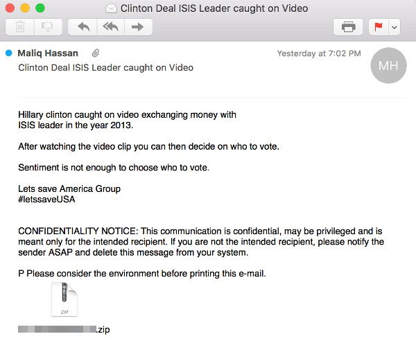 Video of Hillary with IS leader being used to spread malware