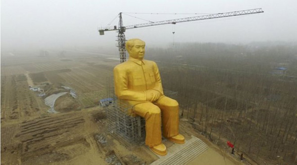 Mao Zedong's 34 metre-high gold-painted statue comes up in Chinese village