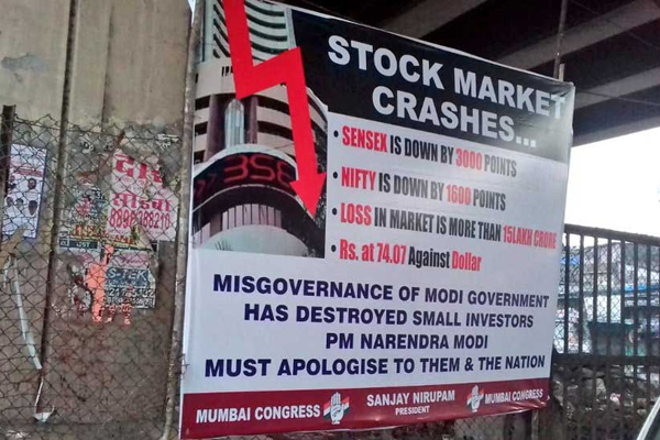 Mumbai Congress launches hoarding war against BJP over financial crises