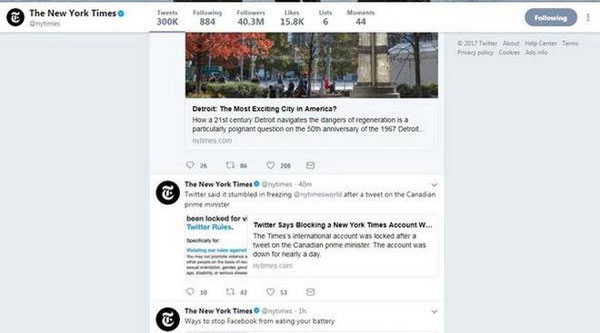 Twitter blocks NYT account, restores later