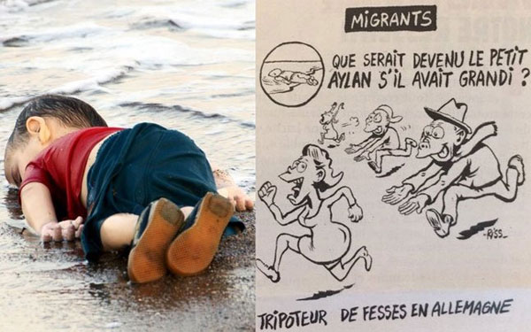 Outrage over Charlie Hebdo latest cartoon featuring Alan Kurdi as sex offender