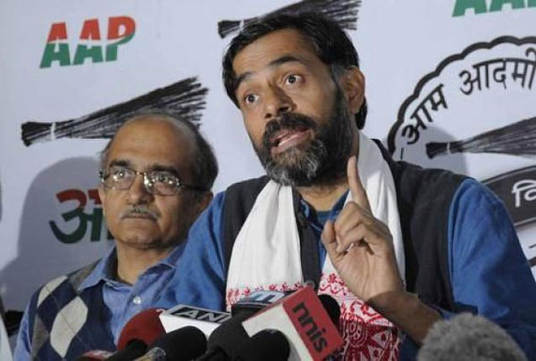 AAP sacks Bhushan, Yadav from top body