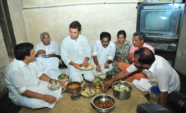 Rahul Gandhi enjoys a tasty fish lunch at a fishermans house