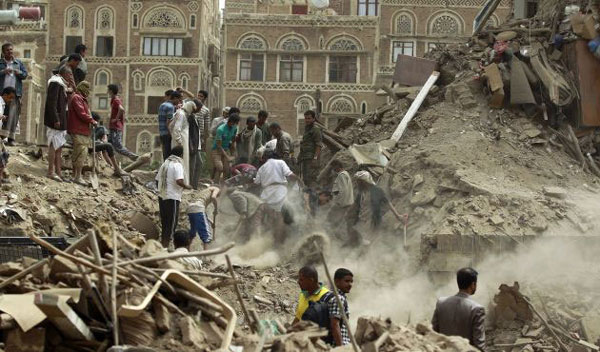 Saudi-led air strikes hit Yemen heritage site, alliance denies