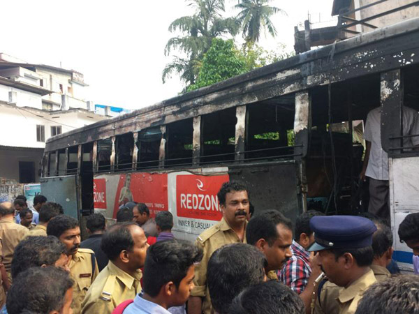 KSRTC bus catches fire in Kozhikode, 4 injured