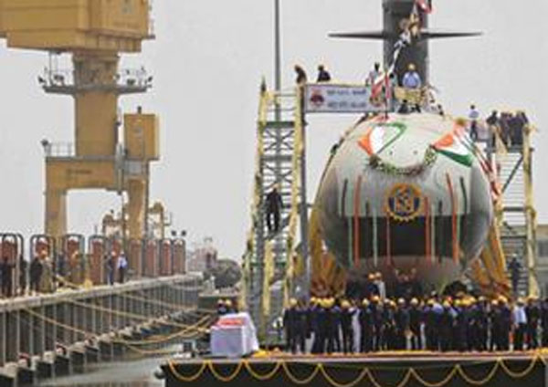 Parikkar undocks first indigenously-built Scorpene submarine