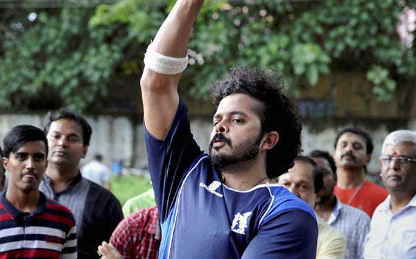 Exonerated S Sreesanth back at the nets for training