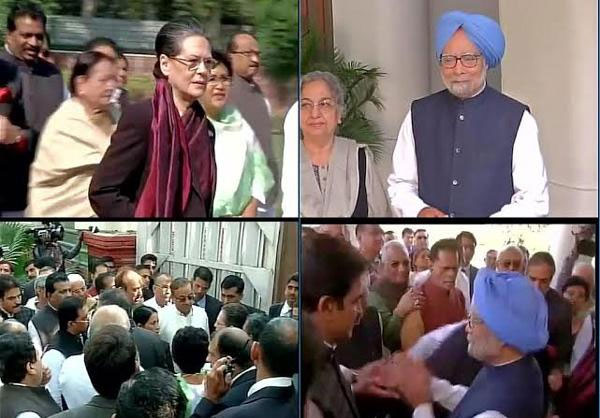 Sonia Gandhi leads solidarity march for Manmohan Singh