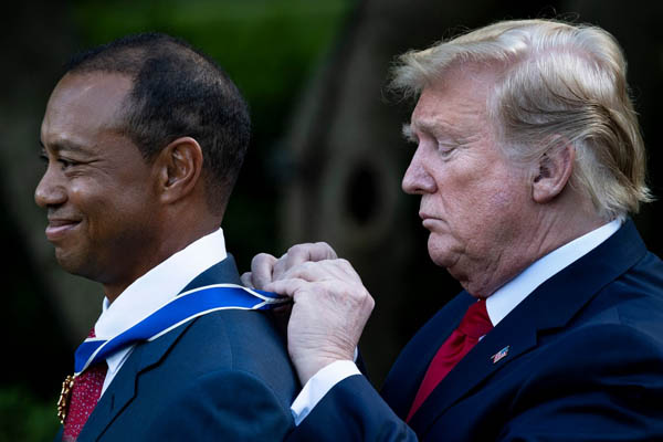 Trump awards highest US civilian honour to Tiger Woods