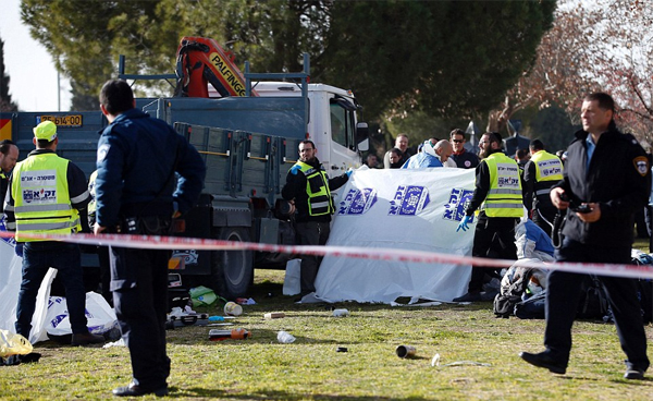 Four mowed down by truck in Jerusalem, Netanyahu says accused IS supporter