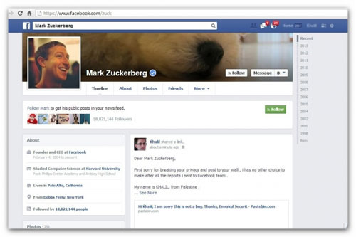 Zuckerbergs account hacked to prove Facebook bug exists